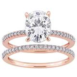 Stella Grace 14k Rose Gold 2 Carat T.W. Lab-Created Moissanite & 1/4 Carat T.W. Diamond Engagement Ring Set, Women's, Size: 8, White