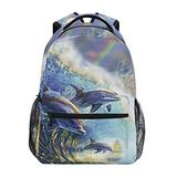 KEIGE Ocean Blue Dolphins Backpack Kids Summer Funny Animels School Bookbag for Boys Girls Teens College Bag 2110002