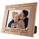 Love Never Fails, Personalized Picture Frame   5x7   Personalized Romantic, Wedding - Couple Photo Frame, Engagement, Valentine's Day, Wedding Gifts for Couple, Engraved Frames D#5