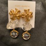 Tory Burch Jewelry | - Earrings | Color: Gold/White | Size: Os