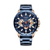 Stainless Steel Sport Chronograph Men's Wristwatch Big Dial Quartz Watches Multi-Functional Waterproof Watch with Calendar and Night Light Dial (Blue)