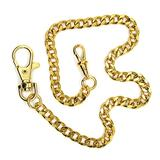 Pocket Watch Chain - Albert Chain - Gold Color - High Polish Curb Link Chain - Big Swivel Lobster Clasp + Swivel Clasp FC02A