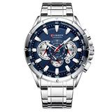 Stainless Steel Sport Chronograph Men's Wristwatch Big Dial Quartz Watches Multi-Functional Waterproof Watch with Calendar and Night Light Dial (Silver Blue)