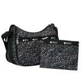 LeSportsac Pop Fizz Classic Hobo Crossbody Bag + Cosmetic Bag, Style 7520/Color F441, Black Bag White Polka Dots