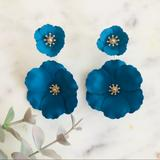 Anthropologie Jewelry   Anthropologie Captiva Floral Front Back Earrings   Color: Blue/Gold   Size: Os