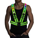 LED Reflective Running Vest with Individual Switches - 24 Super Bright LED Lights | USB Charging & Adjustable Night Running Gear for Outdoor Sports Dog Walking Cycling - LED Safety Gear (Colorful)