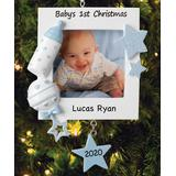Personalized Planet Men's Ornaments - Blue 'Baby's 1st Christmas' Personalized Name Frame Ornament