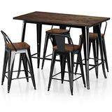 """VIPEK Metal Counter Height Dining Table 24 inch Stools Sets with Solid Wood Top Low Backrest Heavy Duty 35.43"""" Table 4pcs Chair for Farmhouse Bar Patio Pub Restaurant Bistro Cafe Kitchen Gloss Black"""