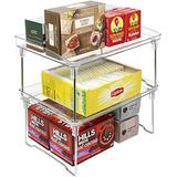 Sorbus Stackable Shelves for Cabinets & Countertop - Storage Shelf Organizer Stand Racks- Foldable Shelves for Undersink, Kitchen Cabinets, Pantry, Countertops, Clear Plastic/Metal