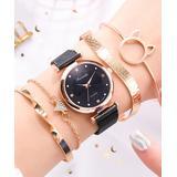 Don't AsK Women's Bracelets Black - Black & Rose Goldtone Crystal Watch & Bracelet Set