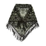 TAN's Women's Accent Scarves GREEN - Green Floral Fringe Scarf - Women