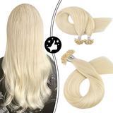 Moresoo 16 Inch Keratin Bond Hair Extensions Utip Hair Extensions Human Hair Remy Hair Fusion Hair Color #60 Platinum Blonde Keratin Hair Extensions Fusion Hair Extensions 50G 50S