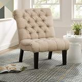 Alunaune Bedroom Chairs Armless Accent Lounge Chair Upholstered Tufted Sofa Backrest Fabric Recliner Living Room Chairs with Wood Legs-Khaki