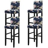 WOMACO Bar Stool Covers Stretch Counter Height Side Chair Slipcover Protector for Dining Room Kitchen Cafe Furniture Chair (Peony, 4 Pack)