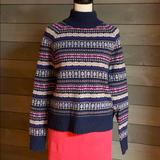 J. Crew Sweaters | Adorable Mock Turtleneck J Crew Sweater | Color: Blue/Pink/Red/Tan | Size: S