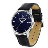 MIGGERS Wrist Watch for Men 50m (165ft) Water Resistant, 40mm Mens Watch with Swiss Movement and Sapphire Crystal, Quartz Analog Leather Strap Watch with Date Display (Black)