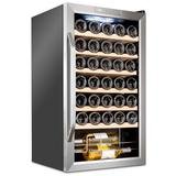 Ivation 34 Bottle Compressor Freestanding Wine Refrigerator in Black/Gray, Size 33.1 H x 17.3 W x 18.7 D in | Wayfair IVFWCC341WSS