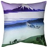 East Urban Home Katsushika Hokusai Tama River in Musashi Province Throw Pillow Cotton in Green, Size 14.0 H x 14.0 W x 14.0 D in   Wayfair