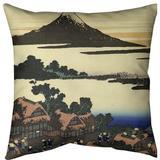 East Urban Home Katsushika Hokusai Dawn at Isawa in Kai Province Throw Pillow Cotton in Green, Size 14.0 H x 14.0 W x 1.0 D in   Wayfair