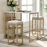 Gold Flamingo Coty 3 - Piece Counter Height Dining SetMetal/Upholstered Chairs in Green/White/Yellow, Size 36.2 H x 41.3 W x 23.6 D in   Wayfair