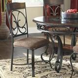 Fleur De Lis Living Garlington Metal Side Chair in Dark Wood/Upholstered/Fabric in Brown, Size 40.38 H x 20.0 W x 23.0 D in | Wayfair