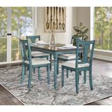 Kelly Clarkson Home Bastion 5 Piece Dining Set Wood/Upholstered Chairs in White/Blue/Brown, Size 30.25 H in   Wayfair