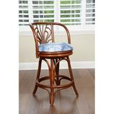 Rosecliff Heights Rosalia Swivel Counter & Bar Stool Upholstered/Wicker/Rattan in Brown, Size 42.0 H x 21.0 W x 17.0 D in | Wayfair