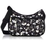 LeSportsac Lovely Night Classic Hobo Crossbody Bag + Cosmetic Bag, Style 7520/Color F534, Modern Multi-color Heart Flowers on Classic Black Bag