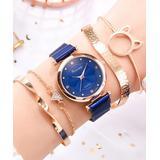 Don't AsK Women's Bracelets Blue - Blue & Rose Goldtone Crystal Watch & Bracelet Set