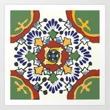 Art Print | Talavera Mexican Tile Inspired Bold Design In Blue, Green, Red, Orange by Jennifer Geiger - X-Small - Society6