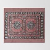 """Throw Blanket   Traditional Rug - Pink by Yodelingbeansart - 51"""" x 60"""" Blanket - Society6"""