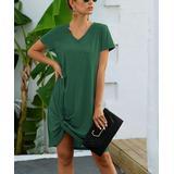 Supreme Fashion Women's Casual Dresses GREEN - Green Knot-Hem V-Neck T-Shirt Dress - Women