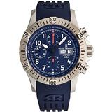 Revue Thommen Airspeed Men's Automatic Chronograph Watch - Round Blue Dial with Luminous Hands, Day and Date - Sapphire Crystal and Blue Rubber Strap Swiss Made Watch for Men 16071.6825