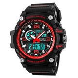 Mens Outdoor Sports Watch Military Digital Watch for Men Army Wristwatch LED Stopwatch Waterproof Analog Electronic Watches (Black red)