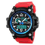 Mens Outdoor Sports Watch Military Digital Watch for Men Army Wristwatch LED Stopwatch Waterproof Analog Electronic Watches (red Blue)