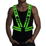LED Reflective Running Vest with Individual Switches - 24 Super Bright LED Lights | USB Charging & Adjustable Night Running Gear for Outdoor Sports Dog Walking Cycling - LED Safety Gear (Green)