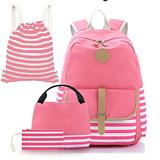 Backpack for Girls, Sugaroom 4 in 1 Girls Backpacks Set Lightweight Canvas School Bag Bookbags with Lunch Box, Drawstring Bag & Pencil Case for Teens