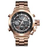 Mens Outdoor Sports Watch Military Digital Watch for Men Army Big Face Wrist Watch LED Stopwatch Waterproof Stainless Steel Watches (Rose Gold)