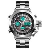 Mens Outdoor Sports Watch Military Digital Watch for Men Army Big Face Wrist Watch LED Stopwatch Waterproof Stainless Steel Watches (Silver)