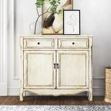 Kelly Clarkson Home Adelle 2 Drawer 2 Door Accent Cabinet Wood in Brown/White, Size 35.5 H x 40.0 W x 12.0 D in | Wayfair