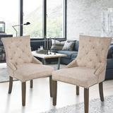 One Allium Way® Ginsburg Tufted Upholstered Wingback Dining Chair in BeigeUpholstered in Brown, Size 39.0 H x 22.0 W x 24.0 D in | Wayfair