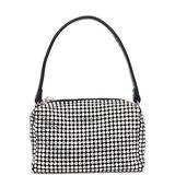 Women Mini Rhinestone Pouch Bag | Crystal Cut Rhinestones Top Handle Handbag | Chain Mesh Clutch (Mini, Black)