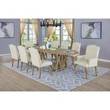 Best Quality Furniture 9 Piece Dining Set with Arm Side Chairs, Beige
