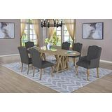 Best Quality Furniture 7 Piece Dining Set with Arm Side Chairs, Gray