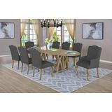 Best Quality Furniture D95-2A-6SC 9 Piece Dining Set with Arm Side Chairs, Gray