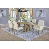 Best Quality Furniture 7 Piece Dining Set with Arm Side Chairs, Beige