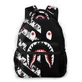 NiYoung Boys Grils Rucksack Back to School Gift - Abstract Modern Striped Houndstooth Shark Carry On Bag Casual College School Daypack Camping Outdoor Backpack, Casual Daypack Climbing Shoulder Bag