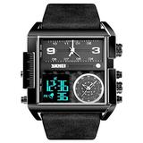 Mens Outdoor Sports Watch Square Digital Watch for Men Big Face Analog Wrist Watch LED Stopwatch Waterproof Electronic Watches (Black Black)