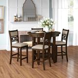 Three Posts™ Edmund 5 - Piece Counter Height Dining Set Wood/Upholstered Chairs in Brown, Size 36.25 H x 42.0 W x 42.0 D in | Wayfair