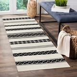 HAOCOO Tribal Cotton Runner Rug 2' X 4.3' Hand Woven Black and Beige Area Rug Farmhouse Geometric Throw Rugs Layered Door Mats Machine Washable Floor Carpet for Indoor Outdoor Kitchen Porch Bedroom